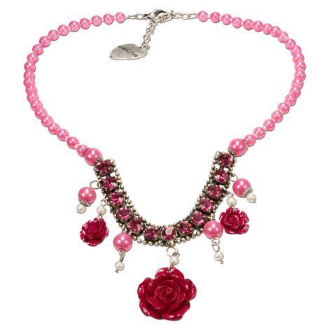 Blüten-Perlen-Trachtenkette Flora (pink-fuchsia)