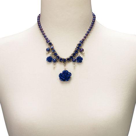 Blüten-Perlenkette Flora (blau) Bild 4