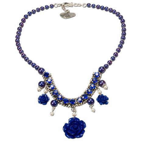Blüten-Perlen-Trachtenkette Flora (blau)