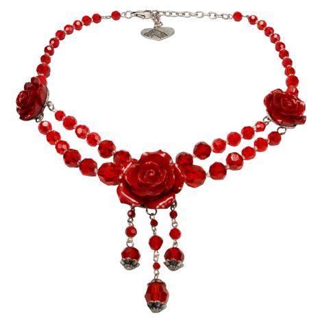 Blüten-Perlen-Trachtenkette Lucy (rot)