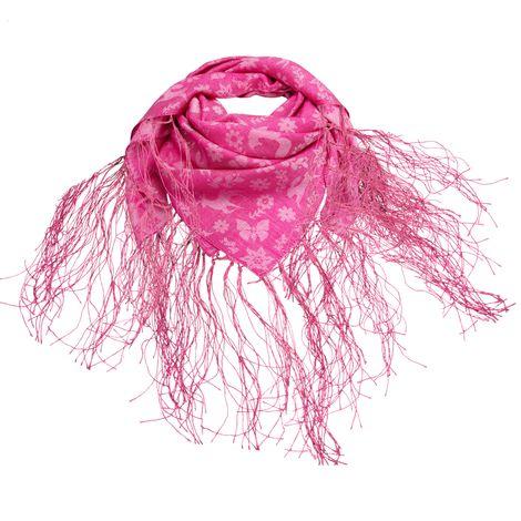 Trachtentuch Tanzende Tiere aus Jaquard mit Fransen (rosa-pink) Bild 1