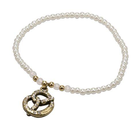 Filigran Perlen-Trachten-Armband Strass-Brezel (creme-weiß)