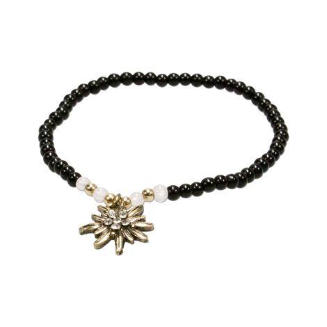 Filigran-Perlenarmband Strass-Edelweiß (schwarz) Bild 2