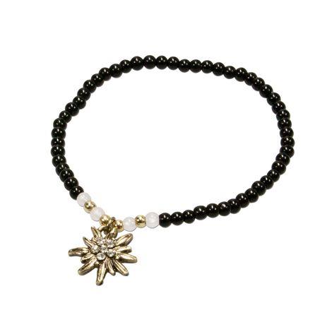 Filigran Perlen-Trachten-Armband Strass-Edelweiß (schwarz)