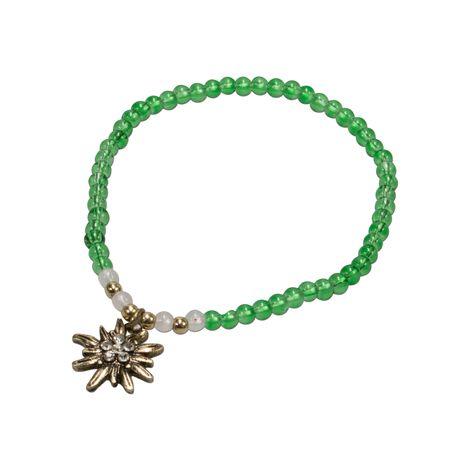 Filigran-Perlenarmband Strass-Edelweiß (grün) Bild 1