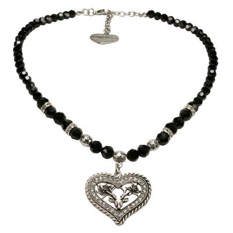 Perlen-Trachtenkette Strassherz-Hirsch (schwarz)
