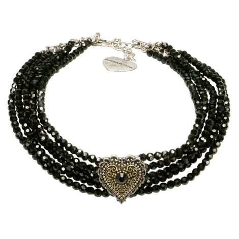 Trachten-Perlen-Kropfkette  Margarethe (schwarz)