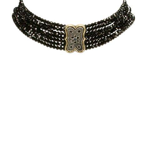 Perlen-Kropfkette Minna (schwarz) Bild 3