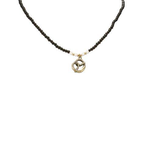 Filigran Perlen-Halskette Strass-Brezel (schwarz) Bild 2