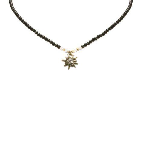 Filigran Perlen-Halskette Strass-Edelweiß (schwarz) Bild 2