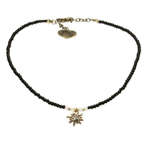 Filigran Perlen-Halskette Strass-Edelweiß (schwarz) Bild 1