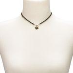 Filigran Perlen-Halskette Strass-Edelweiß (schwarz)