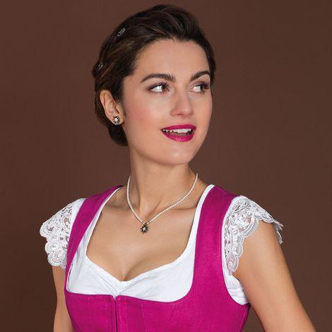 Filigran Perlen-Halskette Strass-Edelweiß (creme-weiß) Bild 2