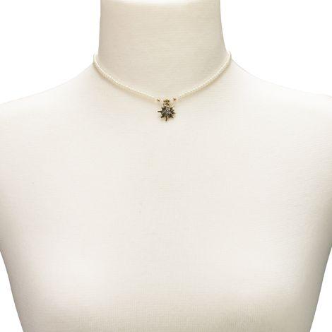 Filigran Perlen-Halskette Strass-Edelweiß (creme-weiß) Bild 4