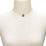 Filigran Perlen-Halskette Strass-Edelweiß (creme-weiß)