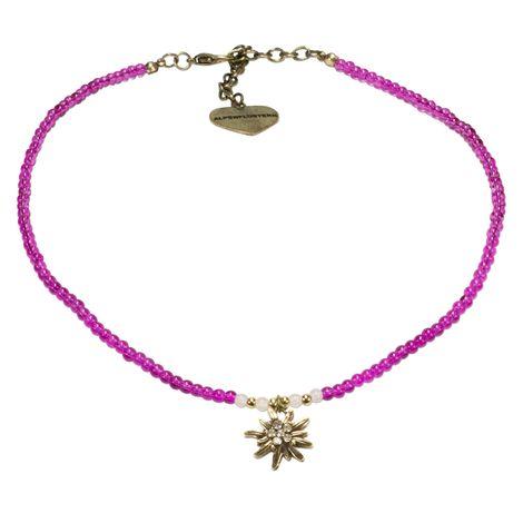 Filigran Perlen-Halskette Strass-Edelweiß (pink-fuchsia) Bild 1