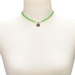 Filigran Perlen-Halskette Strass-Edelweiß (grün)