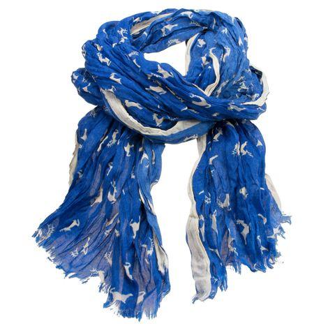 Crush-Trachtenschal Springende Hirsche (blau) Bild 1