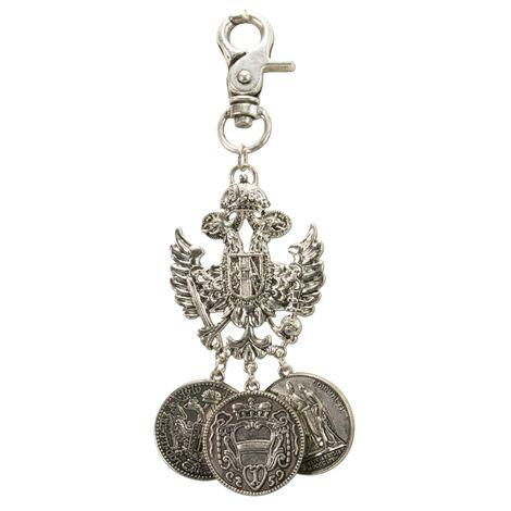 Trachten-Charivari Anhänger Adler-Münze (antik-silber-farben)