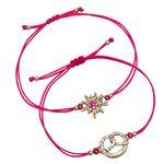 Armband-Set Strass-Edelweiß und Brezel (pink-fuchsia)