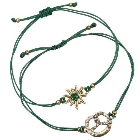 Armband-Set Strass-Edelweiß und Brezel (grün) Bild 1