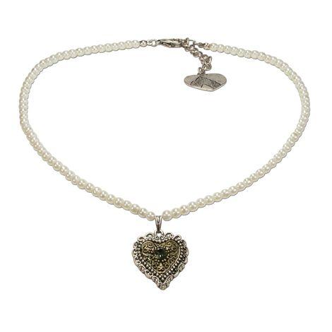 Perlen-Trachtenkette Trachtenherz (creme-weiß)