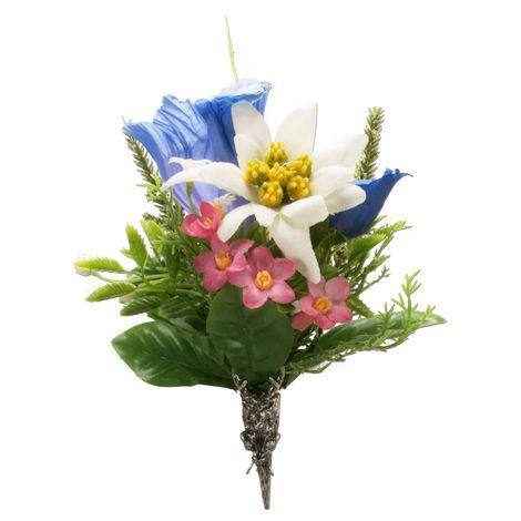 Trachten-Blütenbrosche Alpenblumen (bunt)