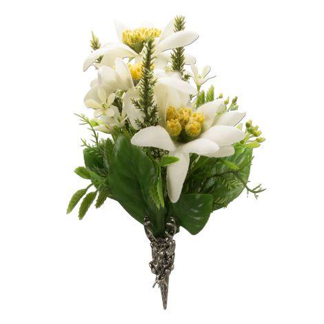 Trachten-Blütenbrosche Edelweiss (bunt)