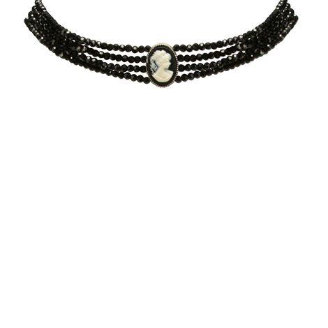 Perlen-Kropfkette Gemme (schwarz) Bild 2
