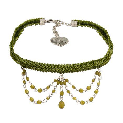 Trachten Borten-Kropfband Ida mit Perlen-Ketten (grün)