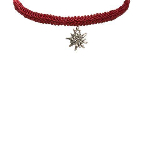 Borten-Kropfband Strass-Edelweiß (rot) Bild 2