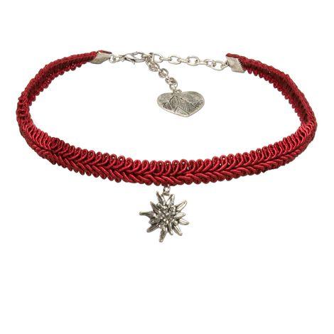 Trachten-Borten-Kropfband Strass-Edelweiss (rot)