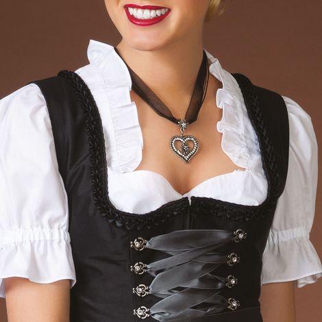 Organza-Halskette Strass-Edelweiß-Herz (schwarz) Bild 2