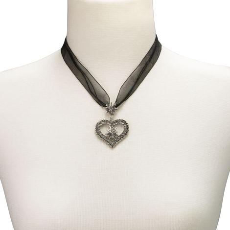 Organza-Halskette Strass-Edelweiß-Herz (schwarz) Bild 4