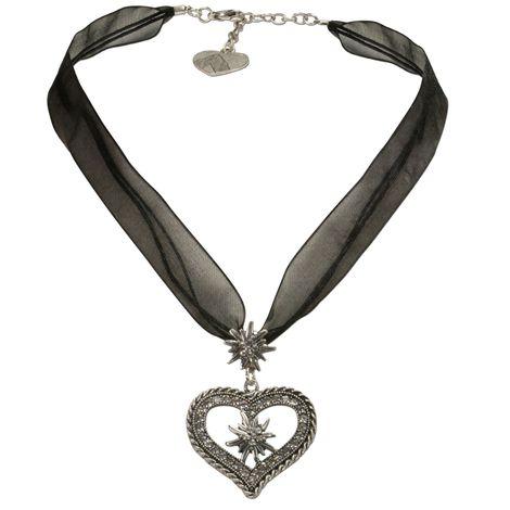 Organza-Trachtenkette Strass-Edelweiß-Herz (schwarz)