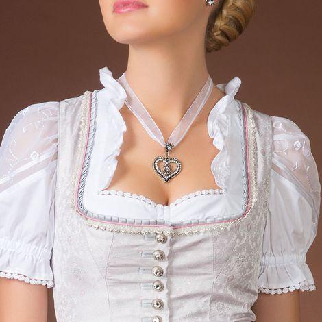 Organza-Halskette Strass-Edelweiß-Herz (weiß) Bild 2