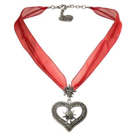 Organza-Trachtenkette Strass-Edelweiß-Herz (rot)