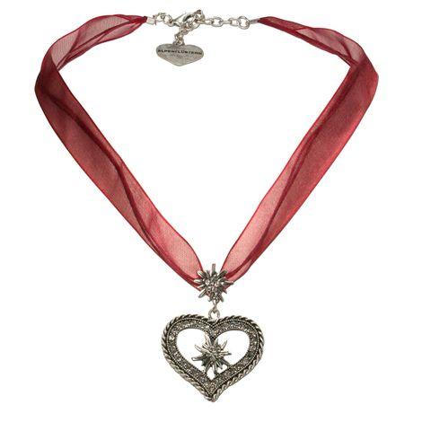 Organza-Halskette Strass-Edelweiß-Herz (dunkel-rot) Bild 1