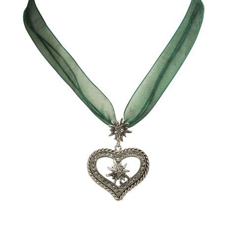 Organza-Halskette Strass-Edelweiß-Herz (grün) Bild 2