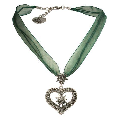 Organza-Halskette Strass-Edelweiß-Herz (grün) Bild 1