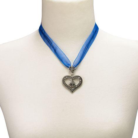 Organza-Halskette Strass-Edelweiß-Herz (blau) Bild 4