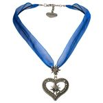 Organza-Halskette Strass-Edelweiß-Herz (blau)