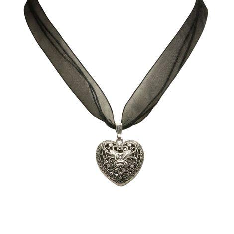 Organza-Halskette Trachtenherz (schwarz) Bild 2