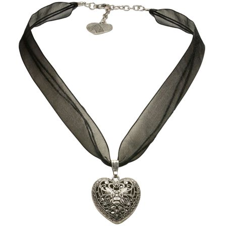 Organza-Halskette Trachtenherz (schwarz) Bild 1