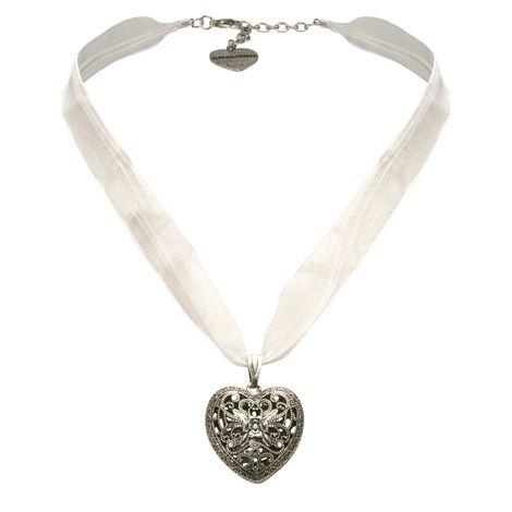 Organza-Halskette Trachtenherz (weiß) Bild 1