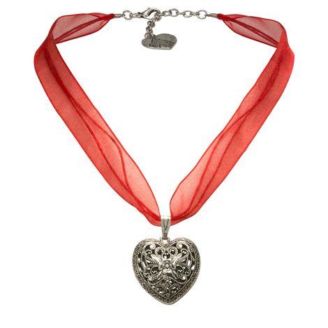 Organza-Halskette Trachtenherz (rot) Bild 1