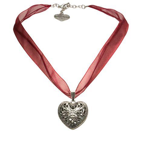 Organza-Halskette Trachtenherz (dunkel-rot) Bild 1