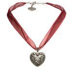 Organza-Halskette Trachtenherz (dunkel-rot)