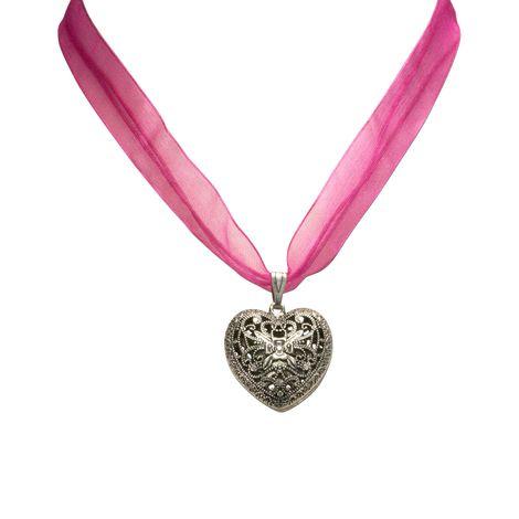 Organza-Halskette Trachtenherz (pink-fuchsia) Bild 2