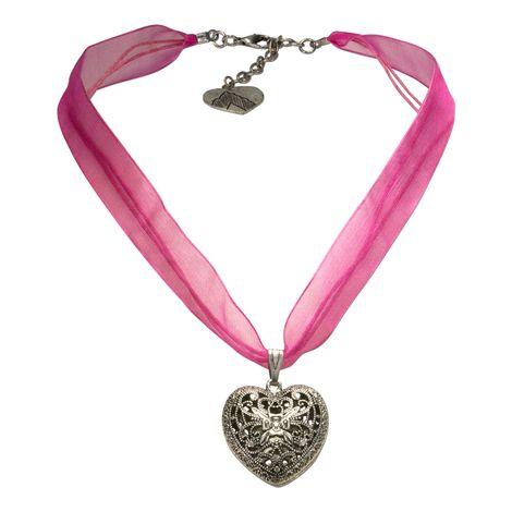 Organza-Halskette Trachtenherz (pink-fuchsia) Bild 1